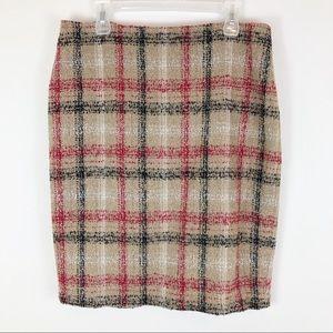 Talbots Wool Blend Textured Plaid Pencil Skirt Tan
